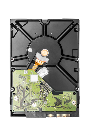 cmos: Hard disk drive HDD isolated on white background.
