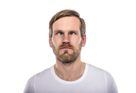 Man with his eyes crossed isolated on white.