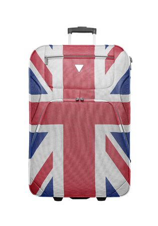 britan: Suitcase with British flag isolated. Travel to England concept.