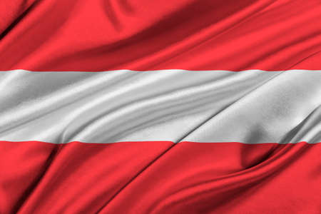 solemn: Flag of Austria waving in the wind.