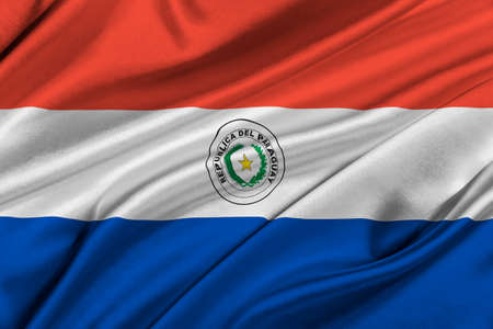 paraguay: Flag of Paraguay waving in the wind.