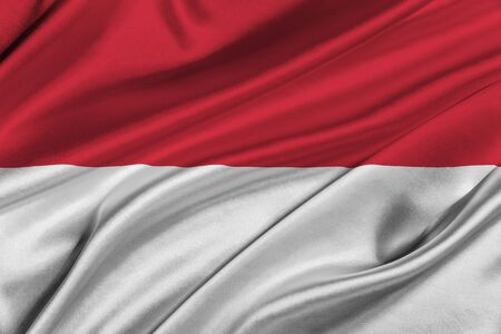 solemn: Flag of Indonesia waving in the wind.