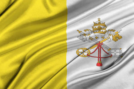 solemn: Flag of Vatican waving in the wind.