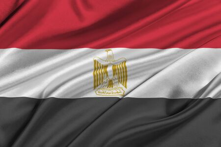 solemn: Flag of Egypt waving in the wind. Stock Photo