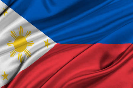 solemn: Flag of Philippines waving in the wind.
