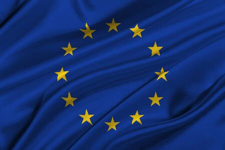 solemn: Flag of Europe Union waving in the wind. Stock Photo