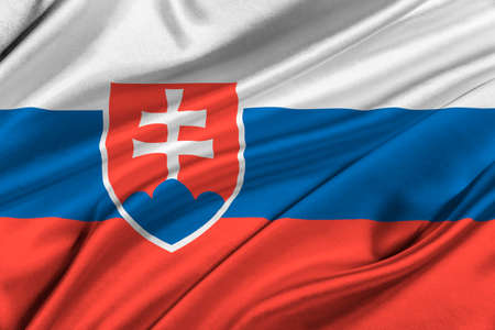 solemn: Flag of Slovakia waving in the wind. Stock Photo