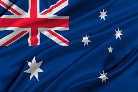 solemn: Flag of Australia waving in the wind.