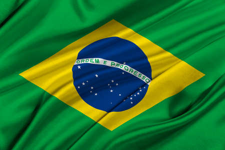 law of brazil: Flag of Brazil waving in the wind.