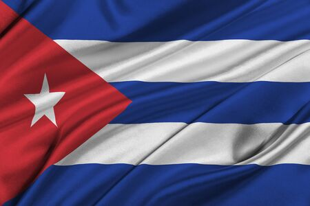 solemn: Flag of Cuba waving in the wind. Stock Photo