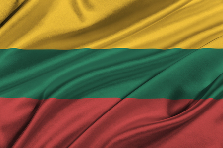 solemn: Flag of Lithuania waving in the wind. Stock Photo