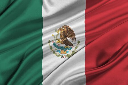 solemn: Flag of Mexico waving in the wind.