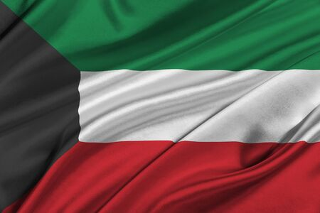solemn: Flag of Kuwait waving in the wind. Stock Photo