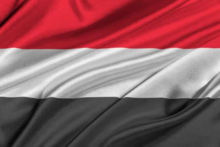 yemen: Flag of Yemen waving in the wind.