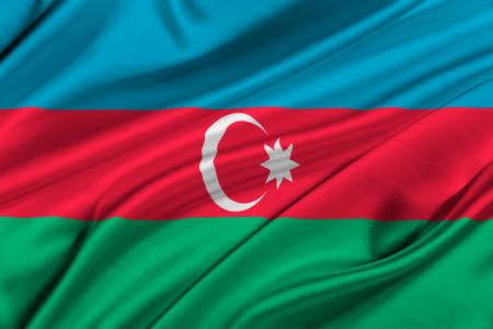 solemn: Flag of Azerbaijan waving in the wind.