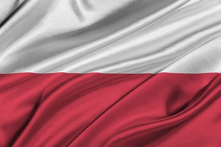 solemn: Flag of Poland waving in the wind.