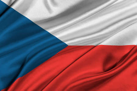 solemn: Flag of Czech Republic waving in the wind. Stock Photo