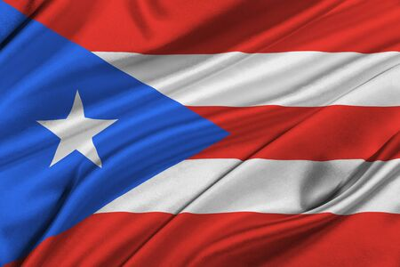solemn: Flag of Puerto Rico waving in the wind.