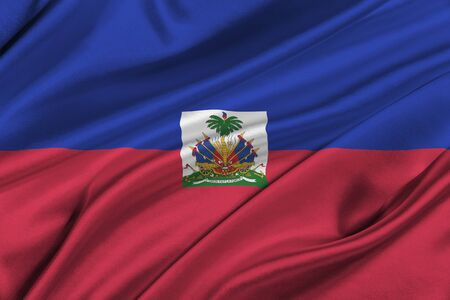 solemn: Flag of Haiti waving in the wind.