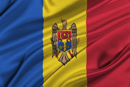 solemn: Flag of Moldova waving in the wind.