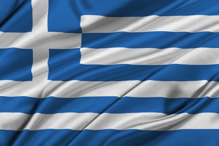 solemn: Flag of Greece waving in the wind.