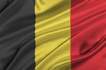 solemn: Flag of Belgium waving in the wind.
