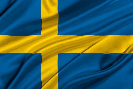 solemn: Flag of Sweden waving in the wind.