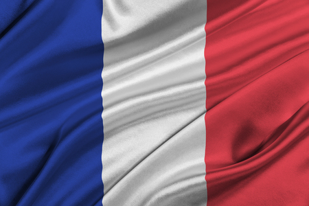 solemn: Flag of France waving in the wind.