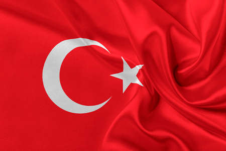 solemn: Flag of Turkey waving in the wind.