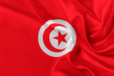 solemn: Flag of Tunisia waving in the wind.