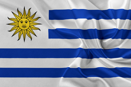 solemn: Flag of Uruguay waving in the wind. Stock Photo