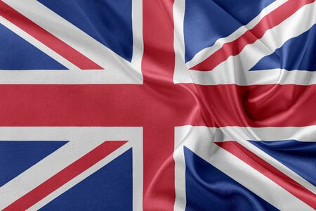 solemn: Flag of Great Britan waving in the wind.