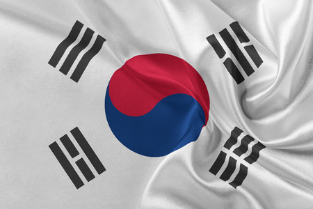 solemn: Flag of Korea South waving in the wind. Stock Photo