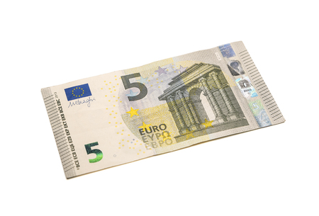 pay cuts: Five euro banknote isolated on white background with clipping path. Stock Photo