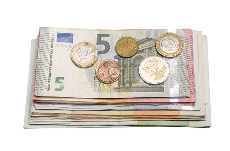 european currency: European currency. Banknotes Euro with different coins. Stock Photo