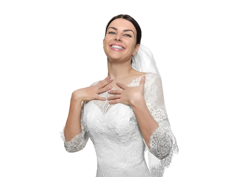 raises: Happy bride raises her arms up with joy. Isolated Stock Photo