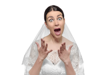 Angry bride screaming. Isolated on white background.