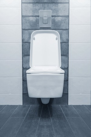 w c: Blue bathroom and toilet in a modern room.