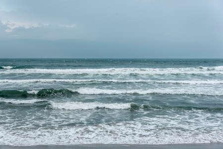 stormy sky: Dark stormy sky and stormy sea waves.
