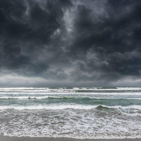 stormy sea: Dark stormy sky and stormy sea waves.