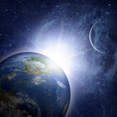 nasa: Earth planet with sunrise in space. Elements Of This Image Furnished By Nasa.