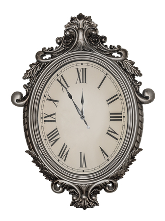 antique: Antique wall clock isolated on white background.
