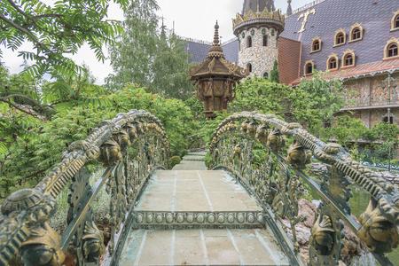 footbridges: BURGAS, RAVADINOVO, BULGARIA - MAY 4: Beautiful pond and footbridges surrounded with trees, on May 4, 2016 in Burgas, Ravadinovo, Bulgaria.