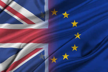 scepticism: Brexit. Silky Flags of European Union and United Kingdom.