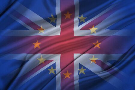 skepticism: Brexit. Silky Flags of European Union and United Kingdom.