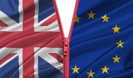 overtake: Brexit. Zipper separates the flags of the EU and the UK. Exit of Great Britain from the European Union - concept.