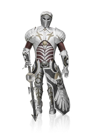 full metal jacket: Knight in metal armor on a white background. Stock Photo
