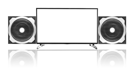 subwoofer: Modern blank flat screen TV set and Audio speaker Subwoofer. Stock Photo
