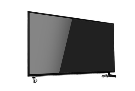 flat screen: Modern blank flat screen TV set. Side view. Isolated on white background.
