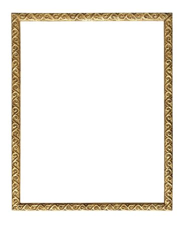 old picture: Old picture frame isolated on white background. Stock Photo